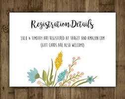 wedding registration registration card etsy