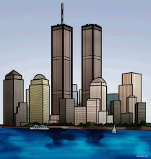 how to draw the twin towers twin towers step by step famous