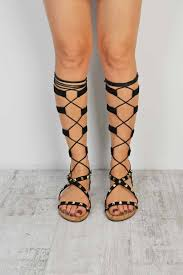 black suede lace up knee high strappy flat gladiator sandals nithon