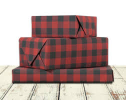 plaid wrapping paper etsy