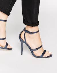 faith litchfield navy metallic heeled sandals in blue lyst