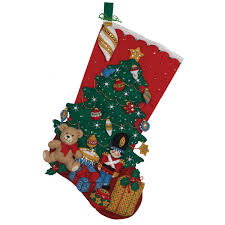 bucilla seasonal felt stocking kits under the tree 86303