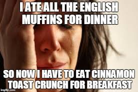 Memes Lmp - my wife s reaction to english muffins as garlic bread imgflip