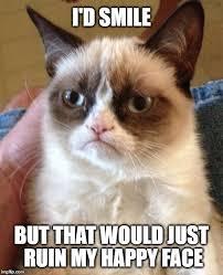 Grumpy Meme Face - grumpy cat happy face imgflip