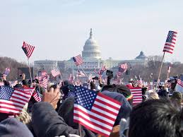 flags in the inauguration crowd historic sized crowd cheer u2026 flickr
