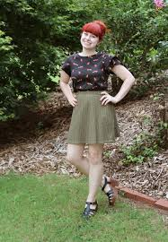 Muted Green by Fox Print Top With A Khaki Green Lace Skater Skirt
