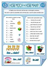 a worksheet to revise the use of how much and how many thanks