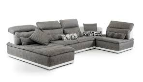 White Leather Sectional Sofa F U0026t Salotti Panorama Italian Modern Grey Fabric And White Leather