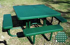 Commercial Picnic Tables by Commercial Picnic Table Plastisol Coated Perforated Metal