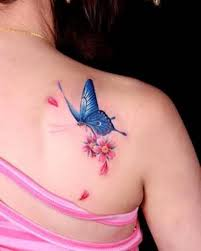 amazing upper side back simple pink flower 3d butterfly tattoo for