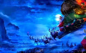 santa claus coming to town riding his reindeer sleigh flying in