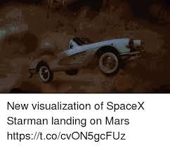 Memes Landing - new visualization of spacex starman landing on mars
