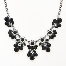 black costume necklace images Stone bib necklace black floral cluster necklace by shamelessly jpg
