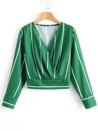 green blouses crossed front stripes blouse green blouses s zaful