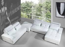 Modern White Bonded Leather Sectional Sofa Divani Casa Phantom Modern White Bonded Leather Sectional Sofa W