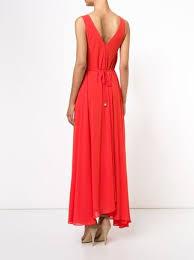 Long Draped Dress Saloni V Neck Long Draped Dress Farfetch