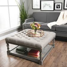 square gray wood coffee table creston linen tufted cocktail ottoman furniture pinterest