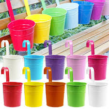 flower pots acelectronic 10 bright colors metal iron hanging