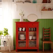 Rojo Tall Cabinet Armario Para Ropa De Cama Hemnes Rojo Con Puertas De Vidrio
