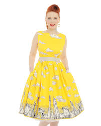 yellow dress yellow skyline print swing dress