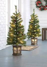 home accents set of two 3 5 ft pre lit porch trees