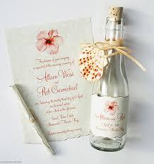 wedding invitations key west hibiscus glass bottles