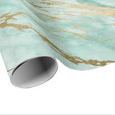 shiny wrapping paper mint green aqua gold marble shiny glam wrapping paper