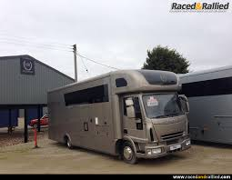 stunning tail lift car race transporter motorhome with garage