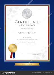 blue and gold ribbon certificate of excellence template in portrait with blue border