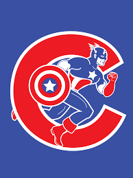 Chicago Cubs Map by Captain America Meshed With The Chicago Cubs Logo Two Great