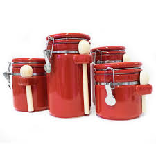 Red Kitchen Canisters Sets Dark Red Kitchen