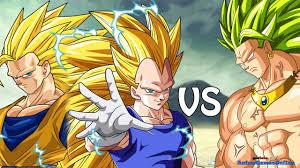 super saiyan 3 broly vs super saiyan 3 goku and ssj3 vegeta road