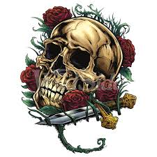 skull with roses and dagger wildside