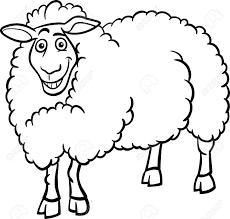 black and white cartoon illustration of funny sheep farm animal