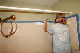 Bathroom Tile Paint Kit Can You Paint Tile How We Brightened Our Bathtub On A Budget