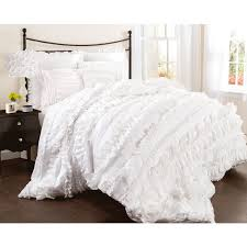 Bedroom Decorating Ideas With White Comforter Bedroom Enchanting White Ruffle Comforter For Bedroom Decoration