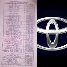 toyota list of cars price list of toyota cars in nigeria caution better sit