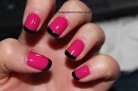 pink and black french manicure