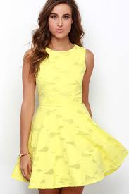 yellow dress yellow dress skater dress jacquard dress 76 00