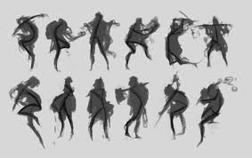 character concept art from initial sketch to final design