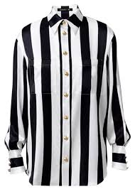 black button blouse balmain x h m black and white stripe silk blouse button top