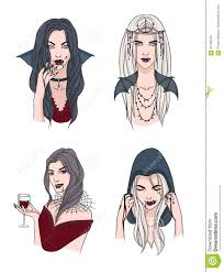 set of various vampire woman with fangs and blood
