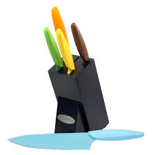 ks1217 6 piece colorful non stick coating knife set with block