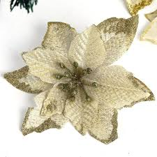 christmas flowers with flocking christmas tree decoration pendant