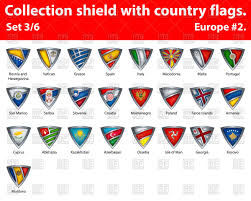 Flags Of Countries Collection Of Shields With Flags Of Different Countries Royalty