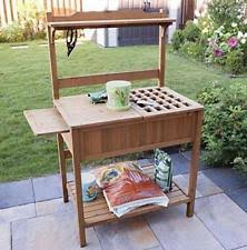 Wooden Potting Benches Potting Bench Stylish Outdoor Gardening Table Metal Patio