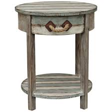 round distressed end table crestview nantucket weathered wood round accent table beach
