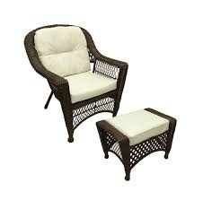 2 pc somerset dark brown resin wicker patio chair ottoman