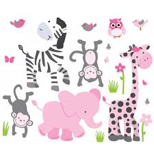 pink gray jungle animal wall decals for girls bedrooms pink gray jungle decals for girls rooms