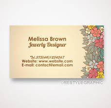 retro business card one sided business card design floral